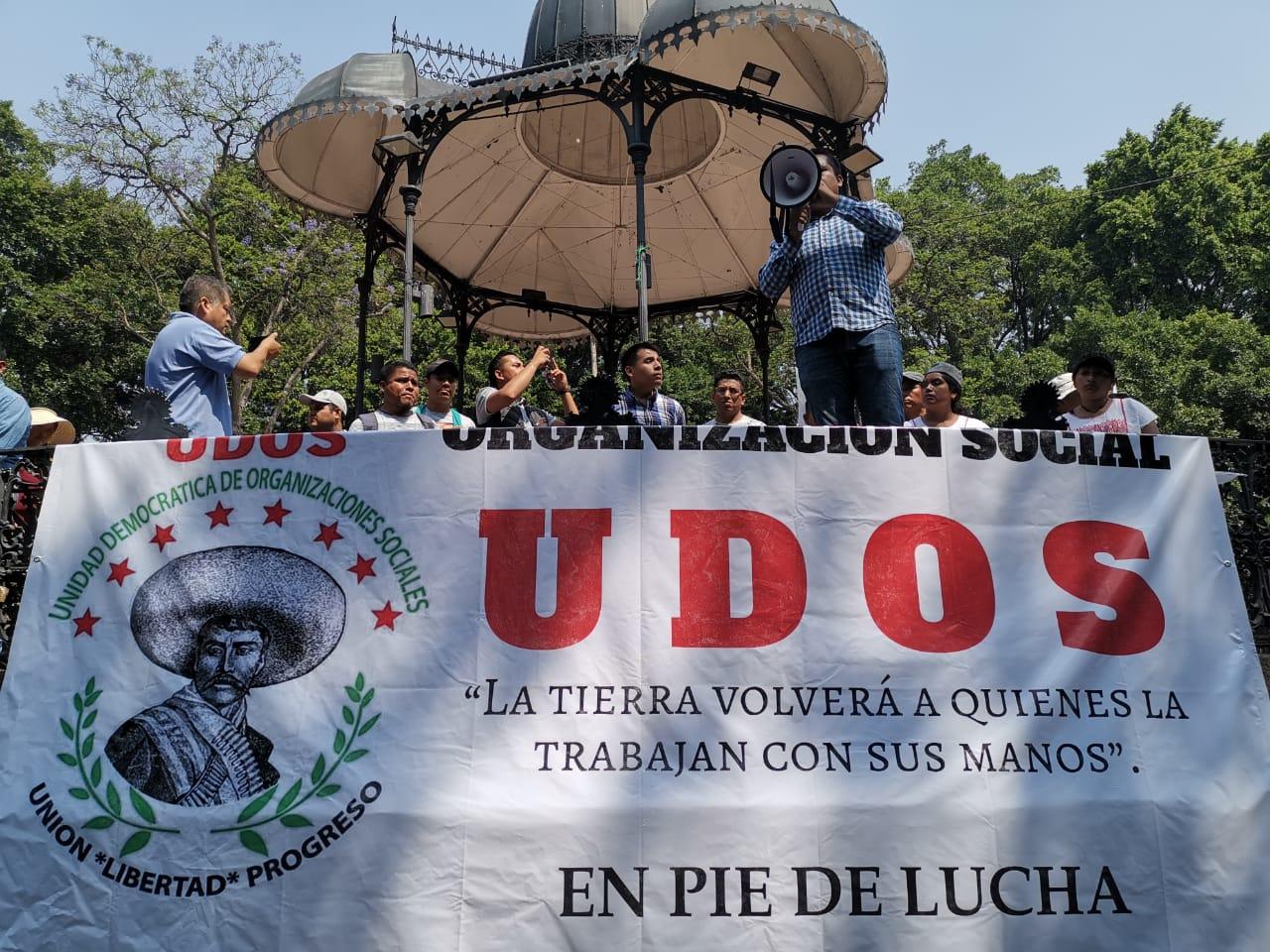 La UDOS realizó un mitin en el zócalo de la capital oaxaqueña.