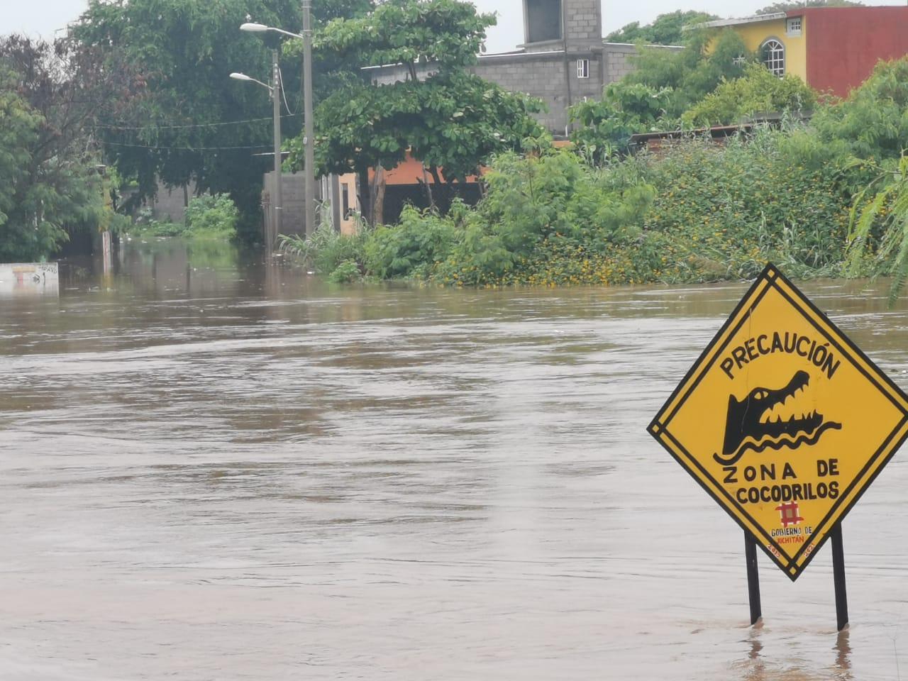 Se desborda río Los Perros en Juchitán, afluente es hábitat de cocodrilos |  Oaxaca