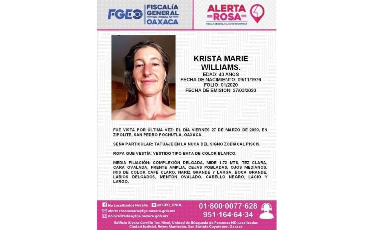 Reportan desaparición de profesora de nacionalidad estadounidense en Oaxaca