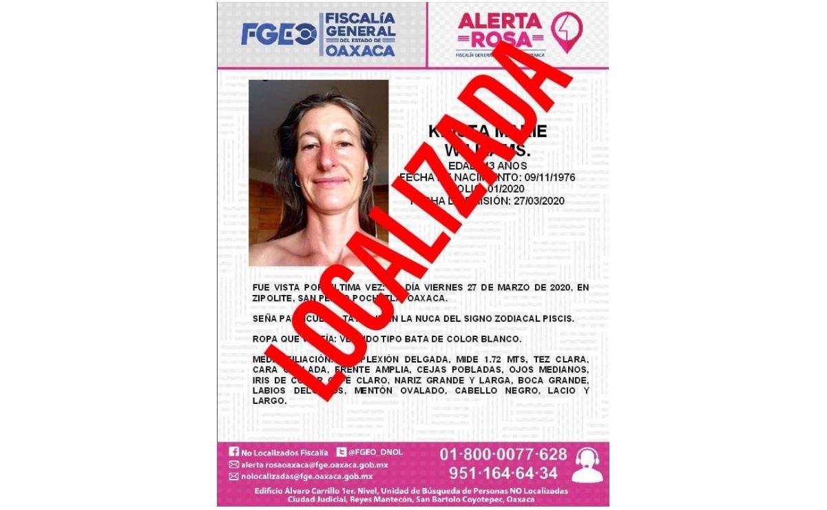 Localizan a maestra de nacionalidad estadounidense reportada como desaparecida en Oaxaca