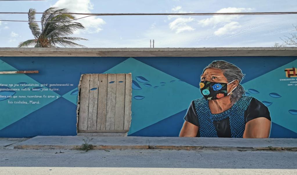 Con murales, artistas en Juchitán rinden homenaje a médicos que combaten Covid-19