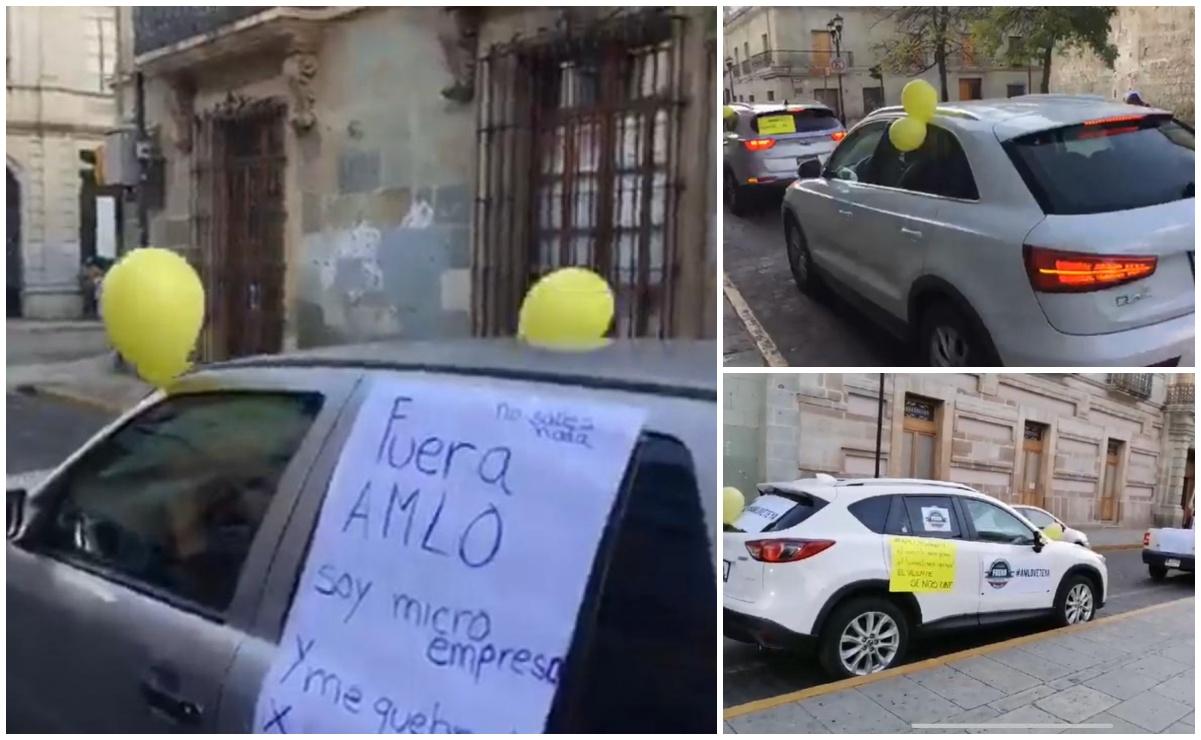 Con caravana de autos, integrantes de FRENA en Oaxaca exigen renuncia de AMLO
