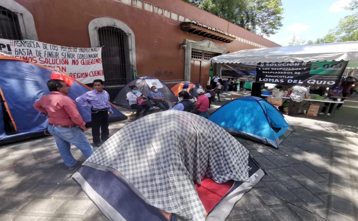 Desplazados de Xoxo cumplen 2 días en plantón para exigir reubicación de 30 familias