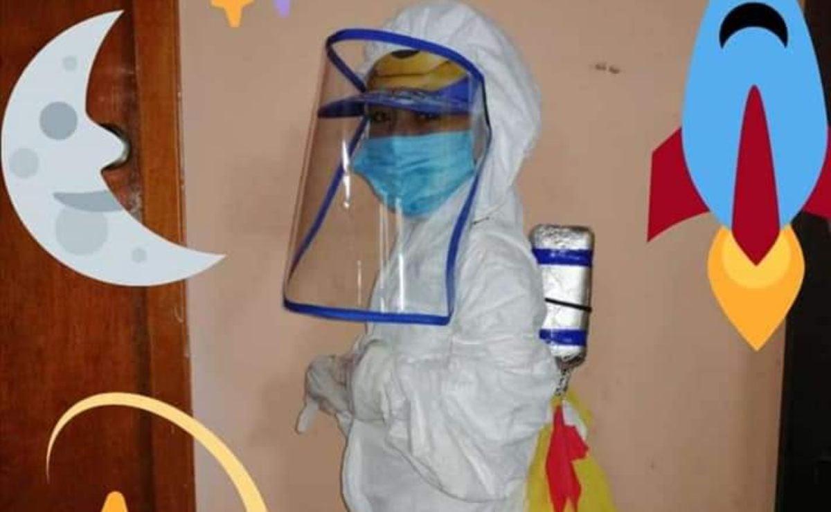 Conoce a Víctor, el pequeño de 4 años que enfrenta la pandemia con un traje de astronauta