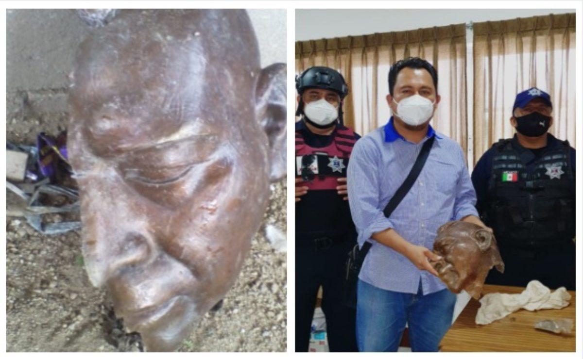 Encuentra policía de Juchitán busto histórico del General Charis Castro, en pedazos
