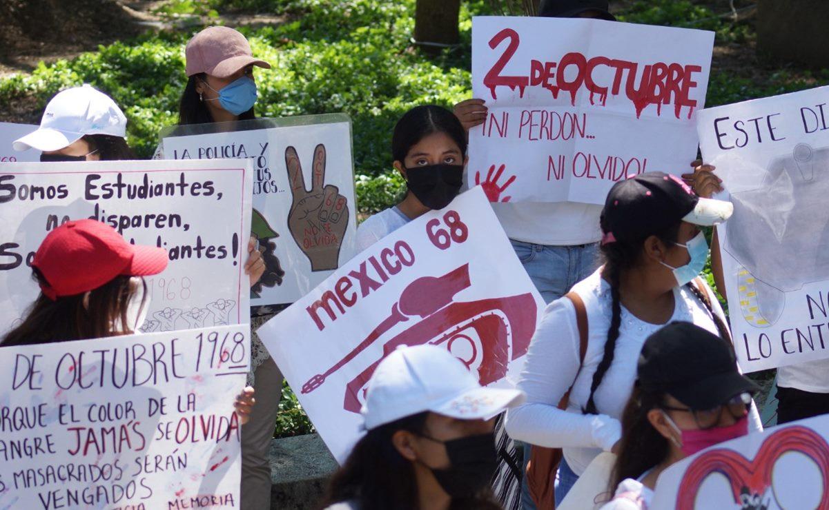 Con marchas y bloqueos, jóvenes de Oaxaca conmemoran matanza estudiantil del 2 de octubre del 68