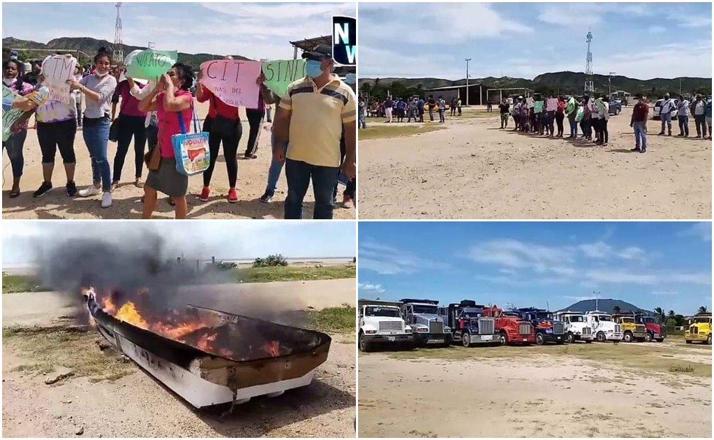 Pescadores, salineros y transportistas protestan contra obras en el puerto de Salina Cruz