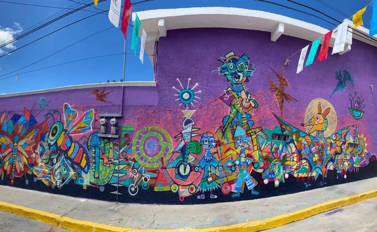 Con esfuerzo de artistas y vecinos, nace un andador de arte mural en el corazón de Tlaxiaco