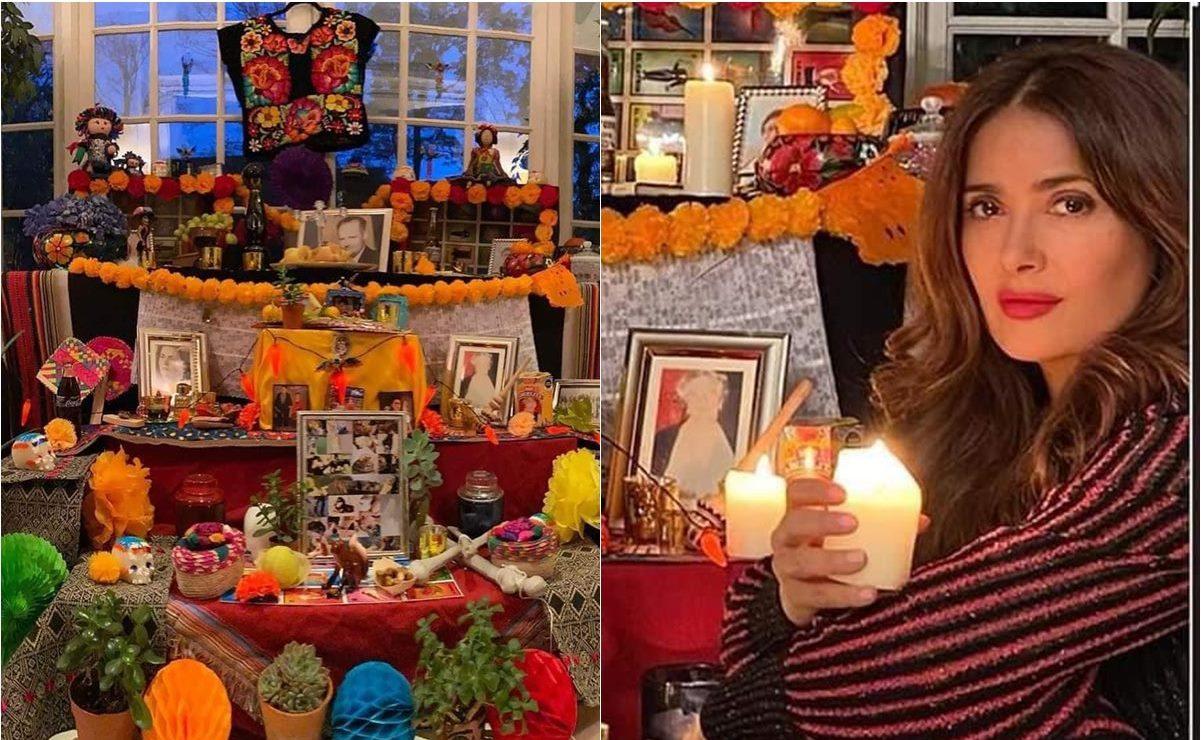Salma Hayek honra su raíz istmeña con altar de muertos con bordados zapotecas