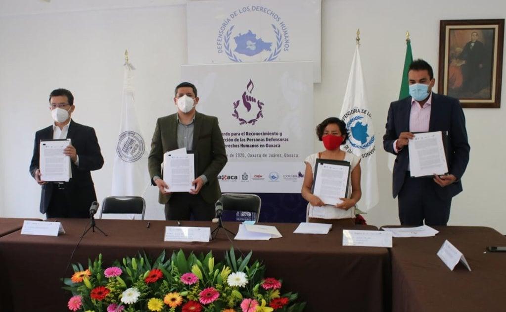 Firman Fiscalía, Defensoría y organizaciones civiles acuerdo para proteger a defensores de DH