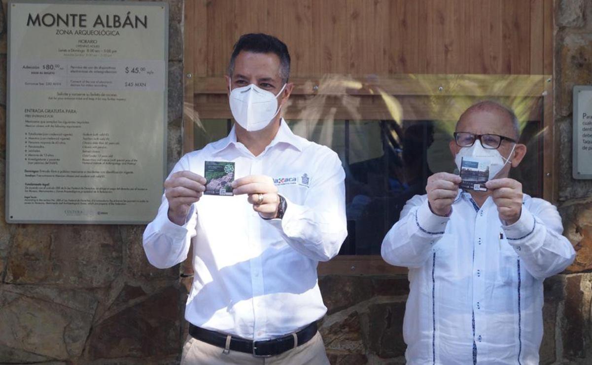 Dan Murat y titular del INAH banderazo a reapertura de la zona arqueológica de Monte Albán