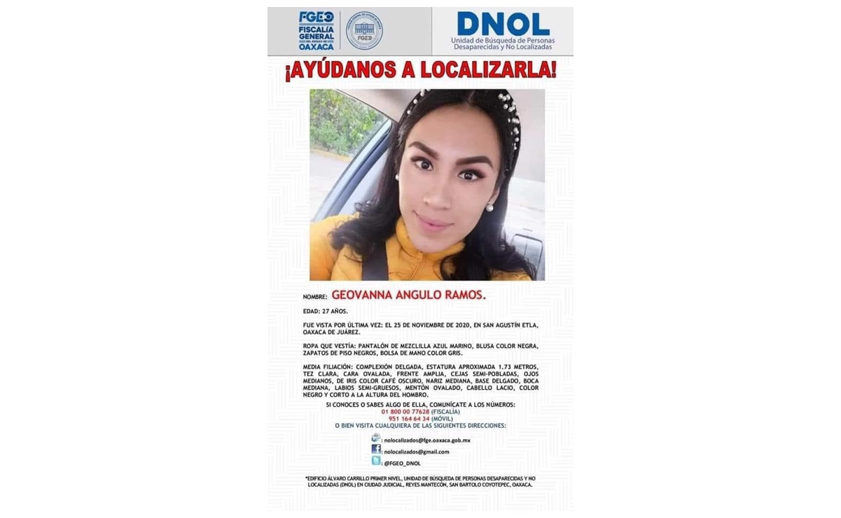 Piden ayuda para localizar a Geovanna; desapareció en San Agustín Etla