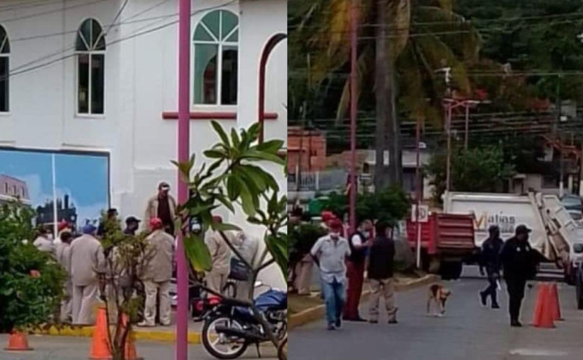 Rechazan trabajadores del ayuntamiento de Matías Romero recorte a aguinaldo; toman palacio municipal