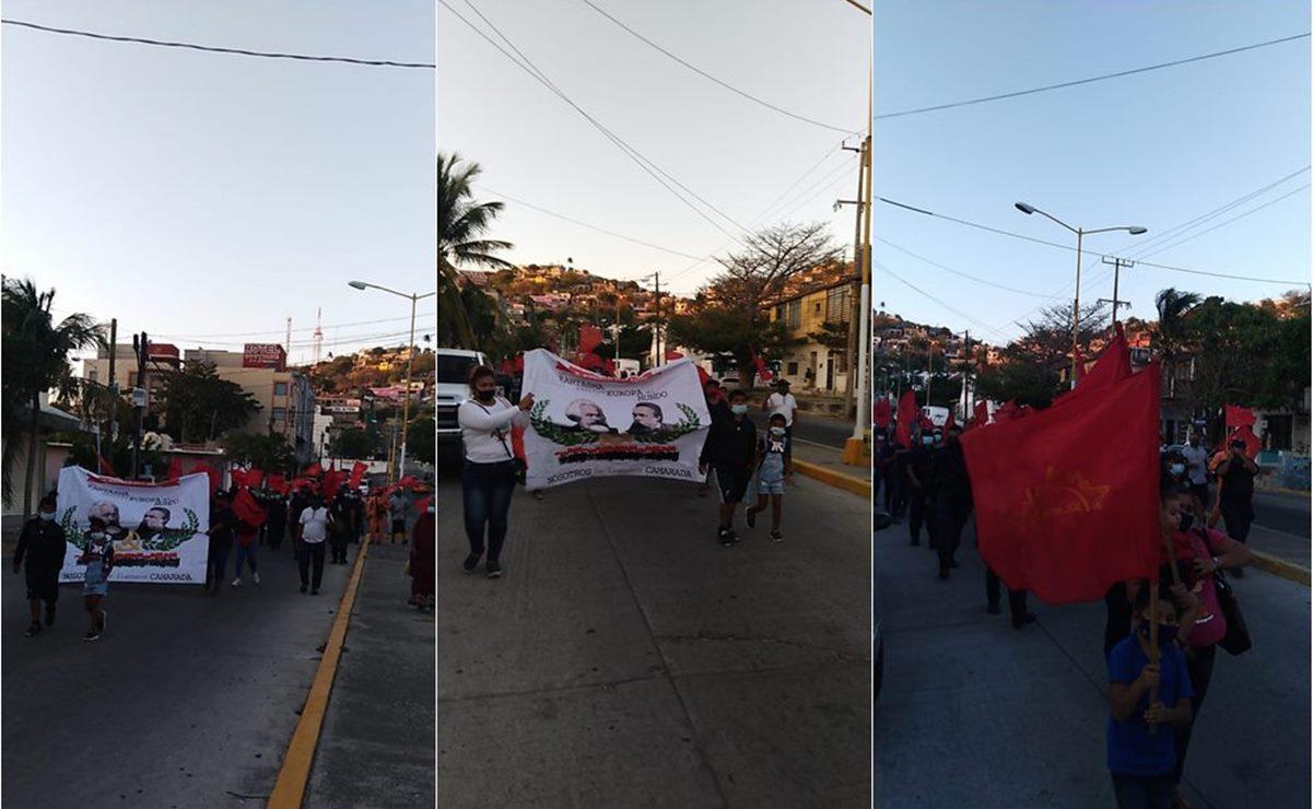 Marchan en apoyo a policías del puerto de Salina Cruz que están en paro laboral por aguinaldos