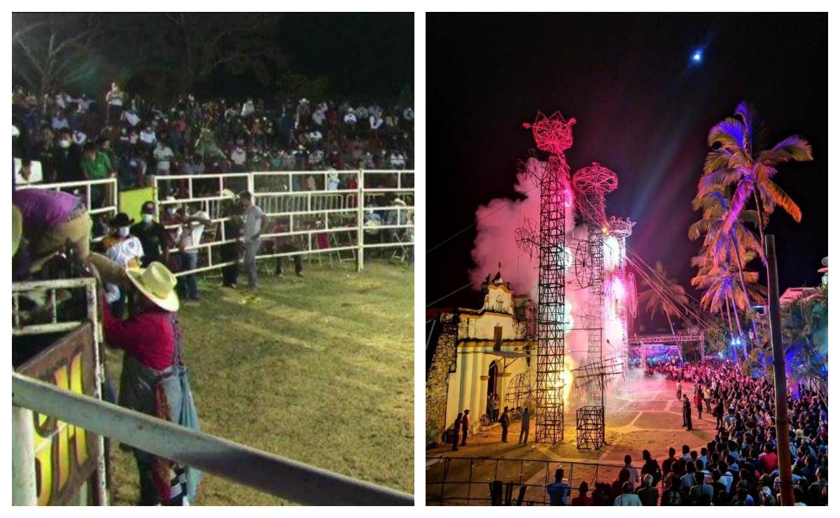 Sin medidas sanitarias, celebran fiesta patronal en Santos Reyes Nopala; realizan hasta jaripeo