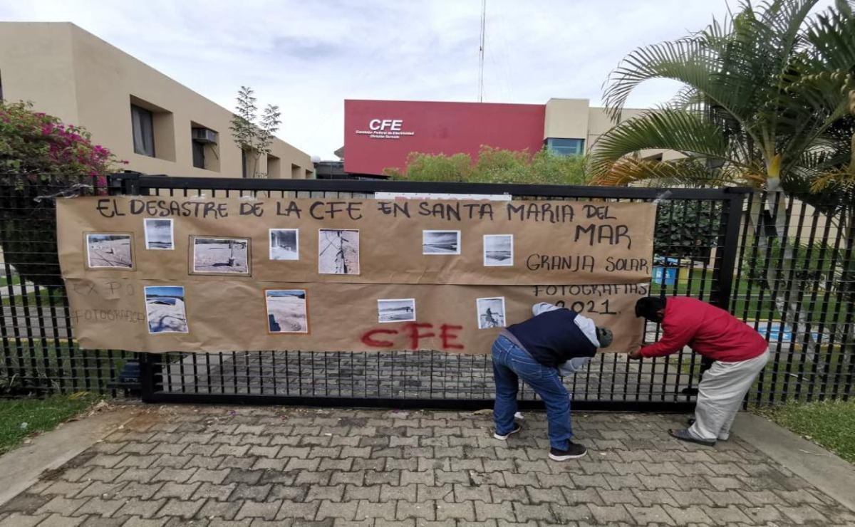 Santa María del Mar, que lleva 10 años sin luz, denuncia que granja solar que construye CFE es de mala calidad