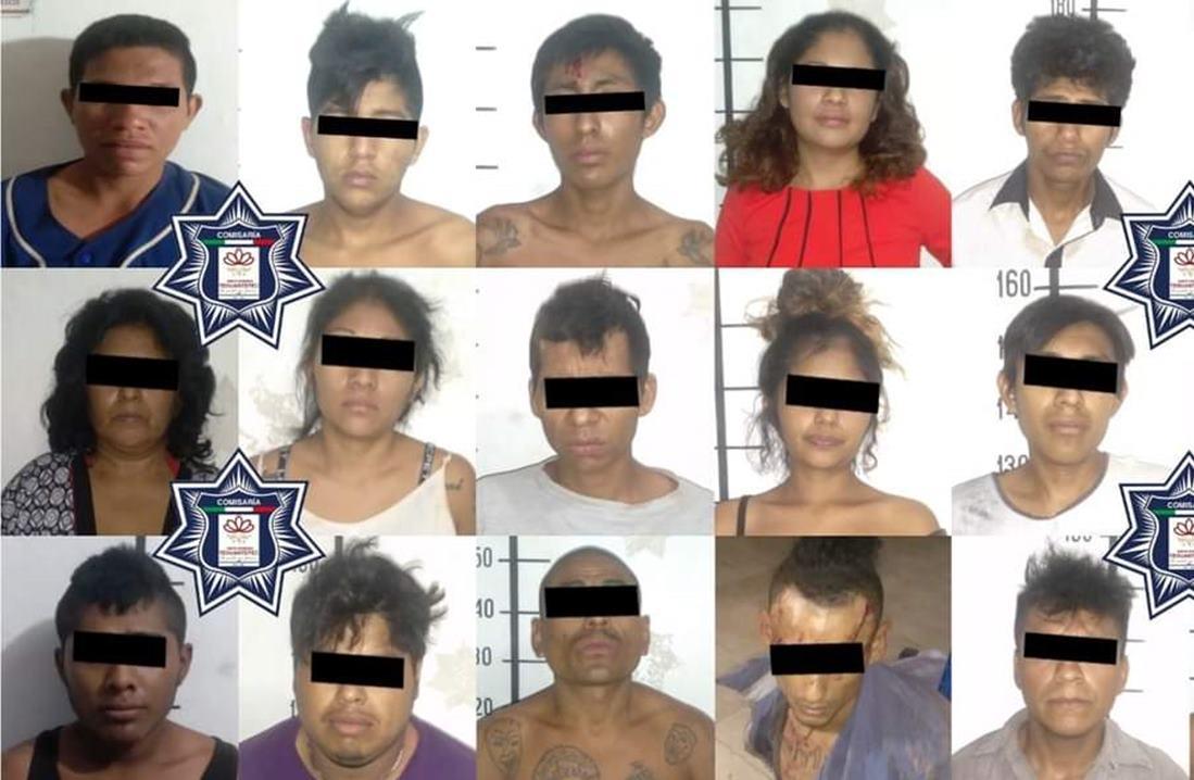 Policías y vecinos de Tehuantepec logran la detención de 18 presuntos asaltantes en una madrugada