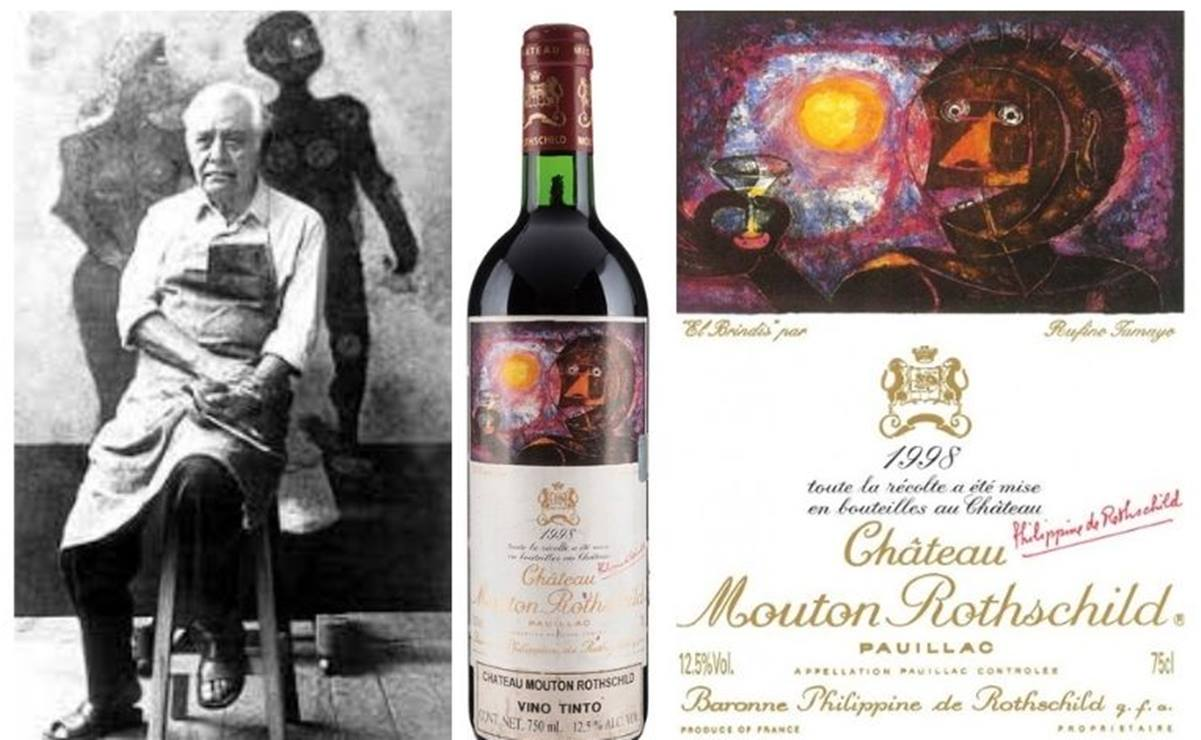 Subastan obra gráfica del artista oaxaqueño Tamayo plasmada en una botella de vino francés