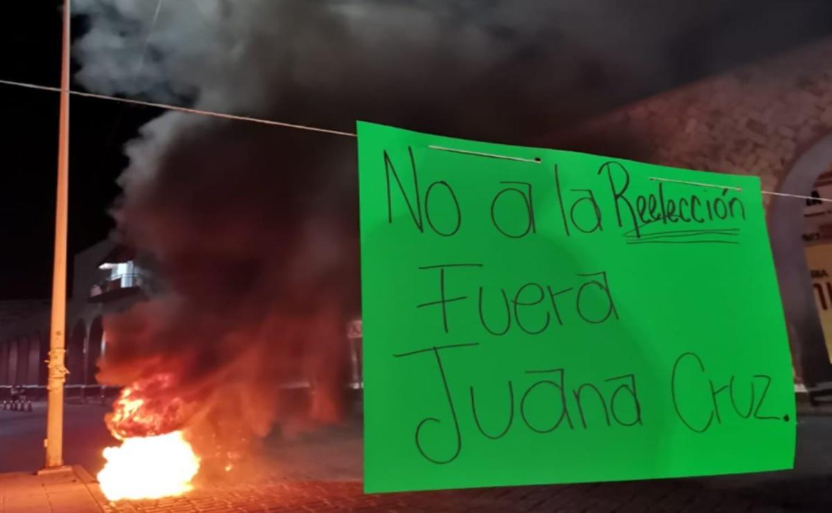 Protestan en Oaxaca contra designación en Morena de edil Juanita Cruz como candidata por Huajuapan