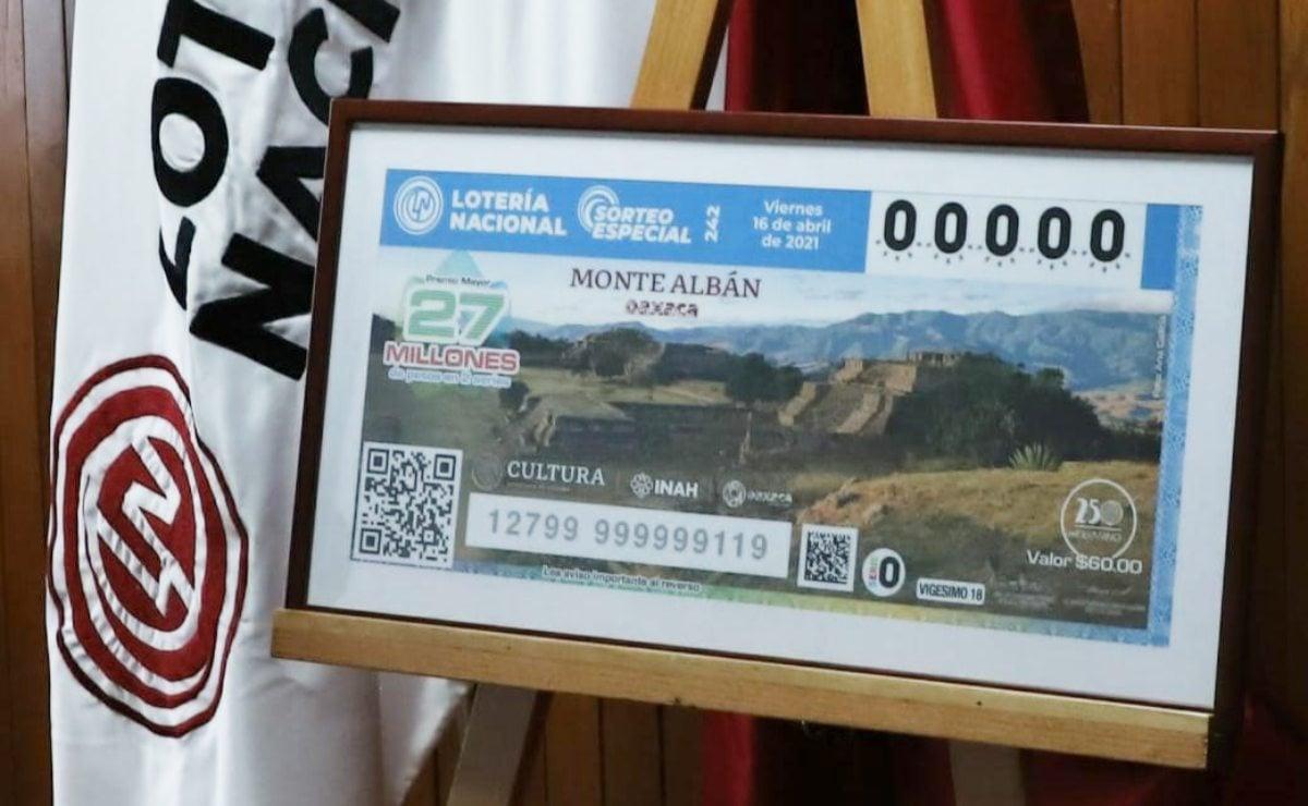 Reconocen y difunden la grandeza de la zona arqueológica de Monte Albán en un billete de la Lotería Nacional