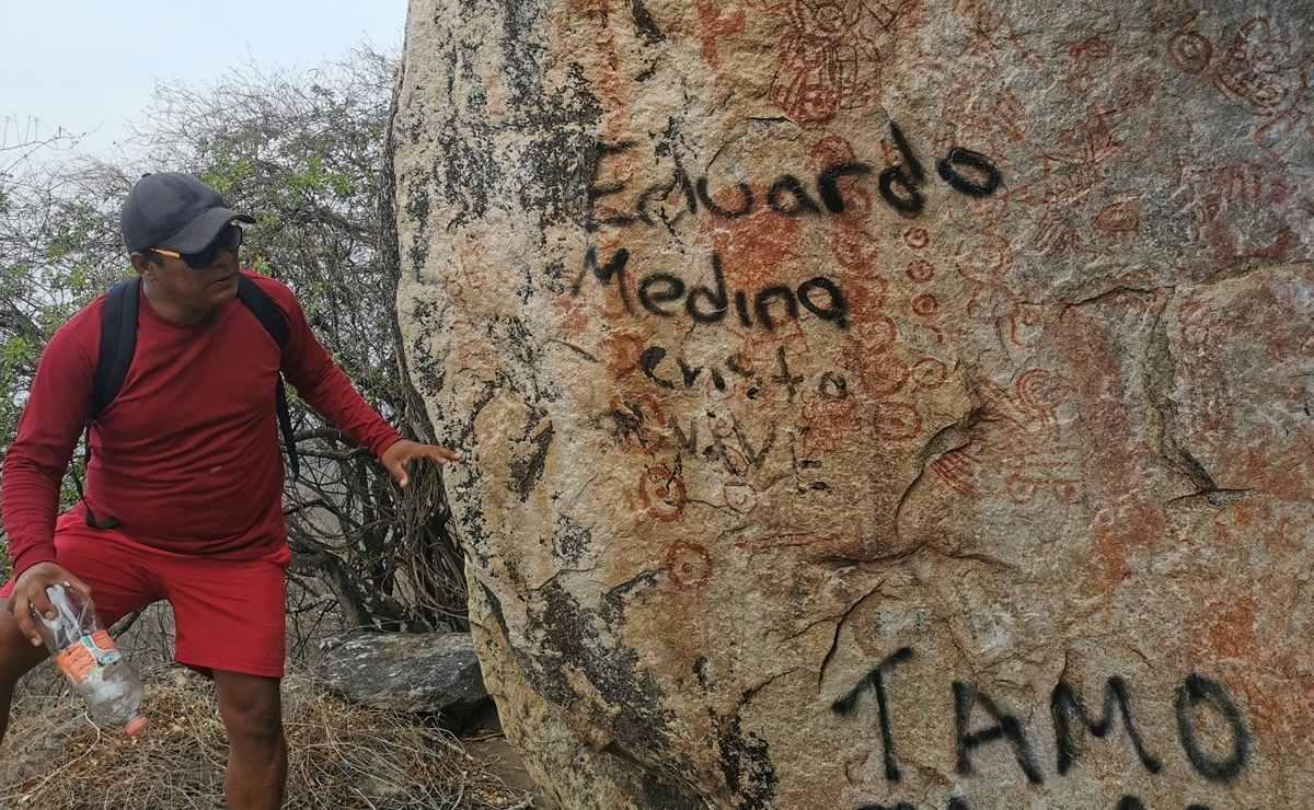 Buscan salvar del abandono el Ba'cuana, sitio sagrado zapoteca que resguarda pinturas rupestres