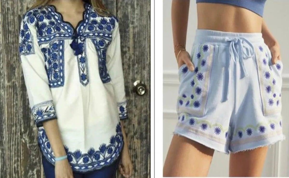 Plagian de nuevo patrones bordados de blusa de Tlahuitoltepec Mixe, Oaxaca, ahora marca de EU