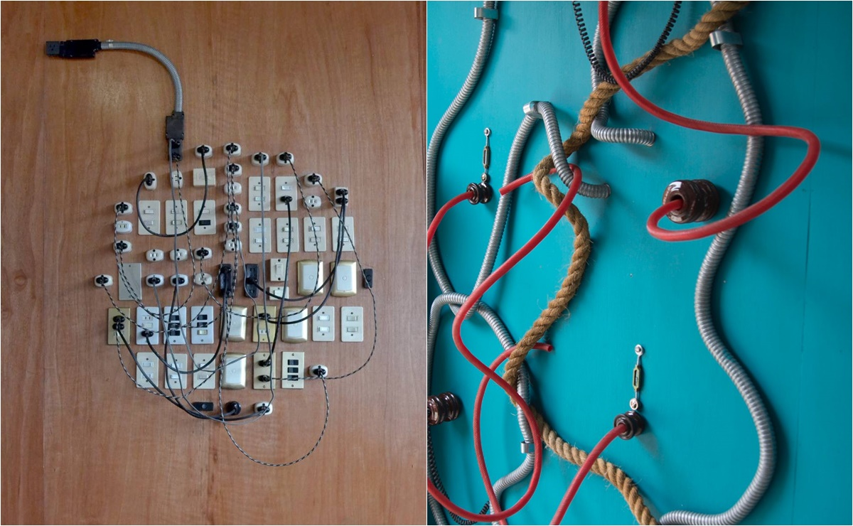 Con materiales de electricidad, artista crea intervención Red de Conexiones; se exhibe en la ciudad de Oaxaca