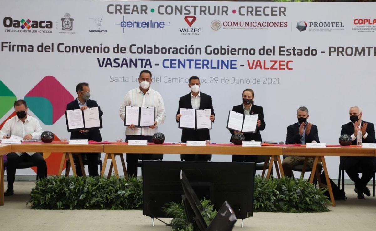 Firma gobierno de Oaxaca convenios para alcanzar 70% de cobertura de internet de banda ancha
