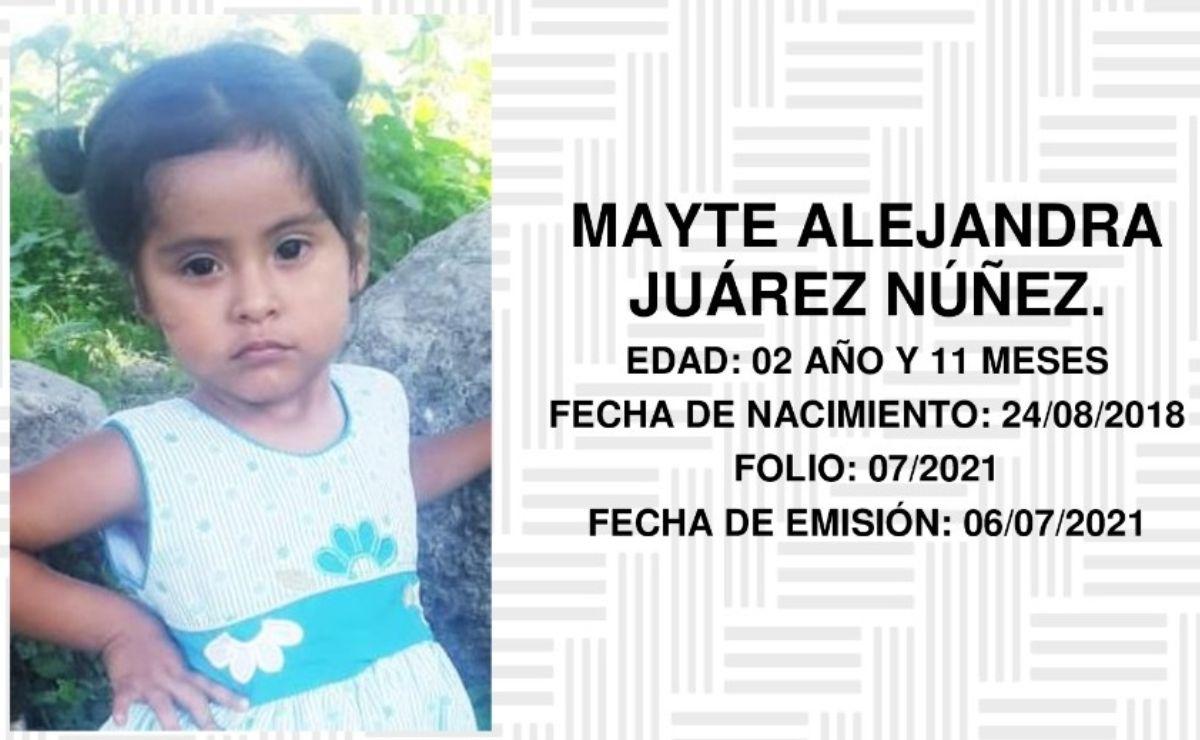 Activan Alerta Rosa para buscar a Mayte Alejandra, niña de dos años desaparecida en Sierra Sur de Oaxaca