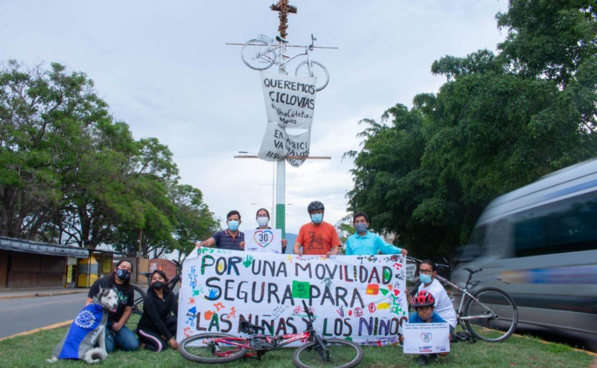 En Oaxaca se pedalea por justicia y por derechos para ciclistas; han muerto atropellados 3 en 2021