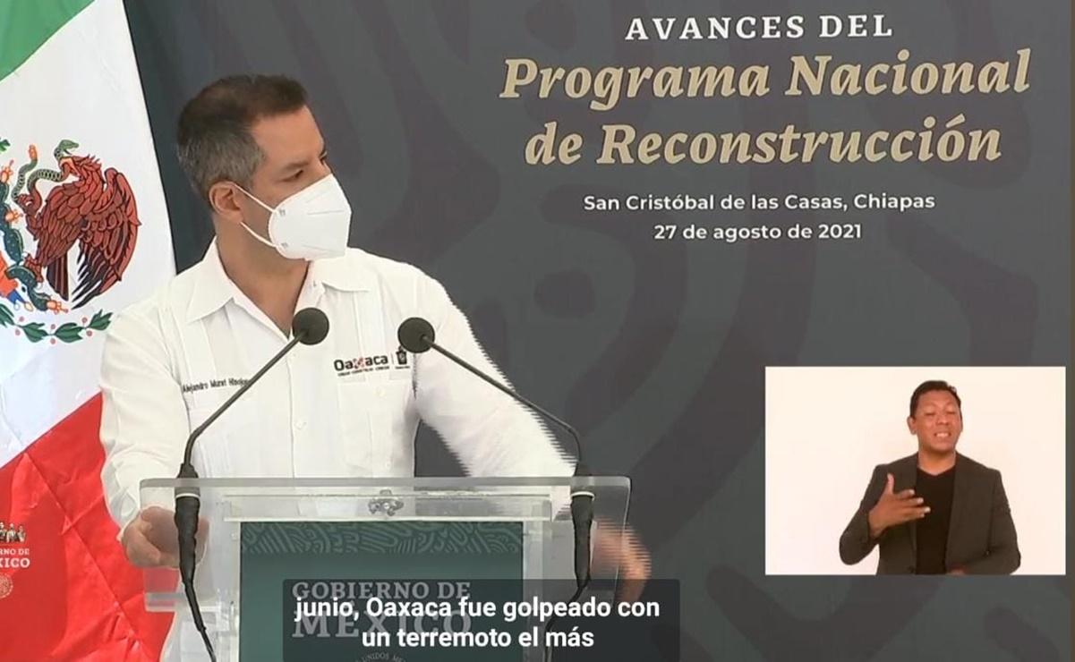 Se suma Murat a gira de AMLO en Chiapas; participa en evento sobre avances de la reconstrucción