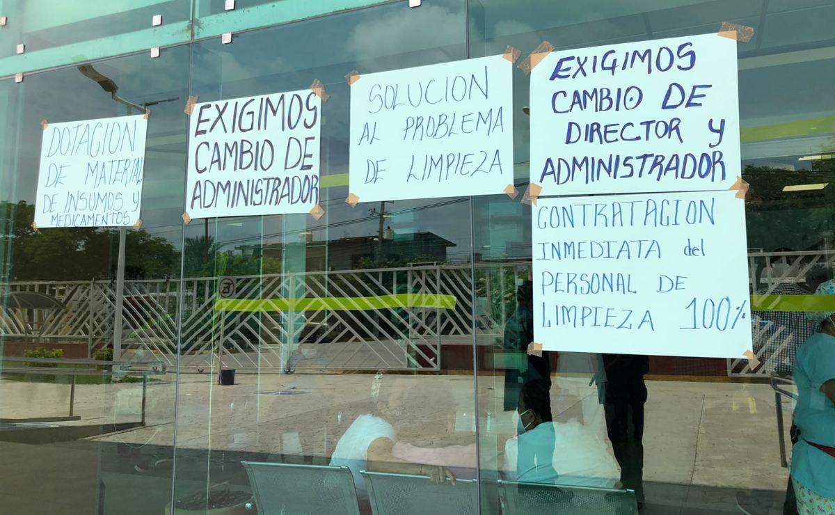 Trabajadores de hospital de Juchitán se declaran en paro de labores, en apoyo a personal de limpieza despedido