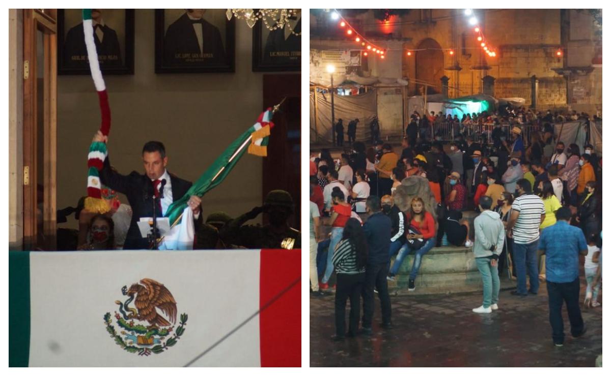 Cientos ignoran medidas contra Covid-19 y acuden al Grito de Independencia en Zócalo de Oaxaca