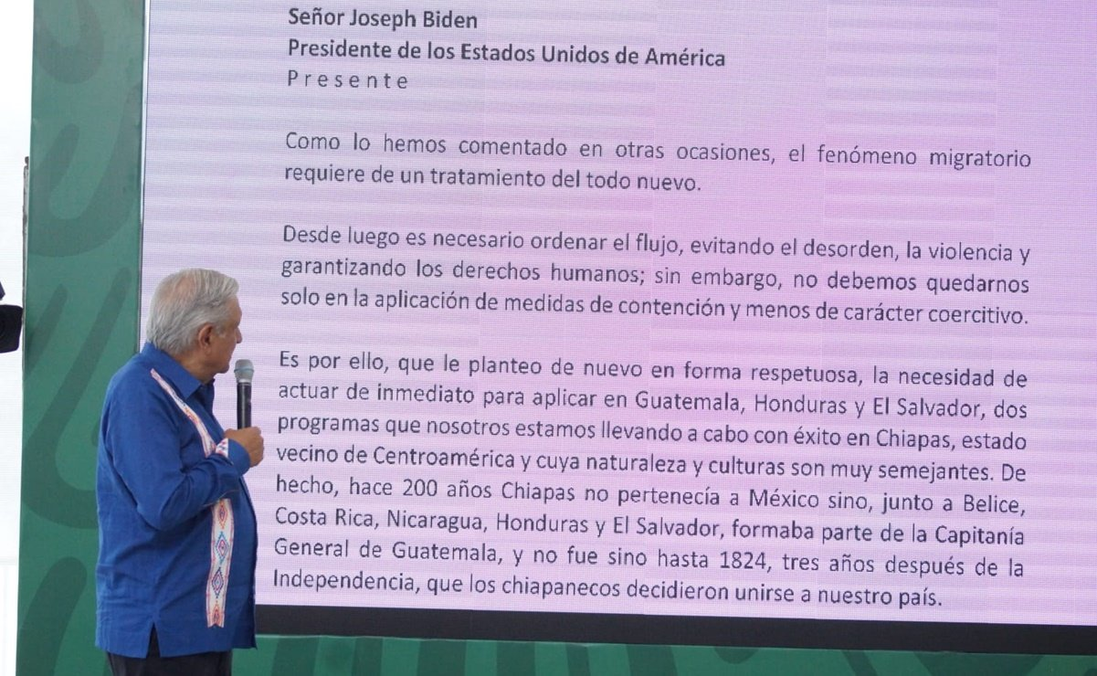 AMLO revela en Oaxaca carta que envío a Joe Biden; propone apoyos a 330 mil para evitar migración