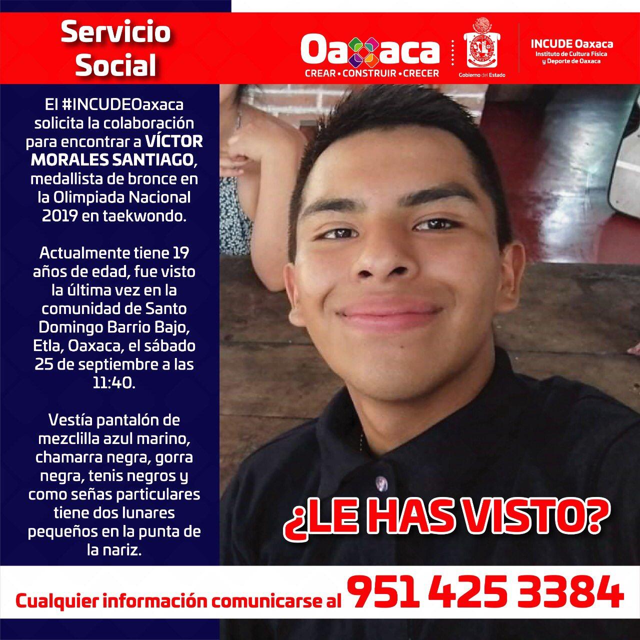 Incude Oaxaca pide ayuda para localizar a Víctor Morales, medallista de taekwondo