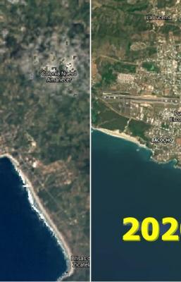 Google muestra crecimiento urbano de Puerto Escondido, Oaxaca, en 36 años