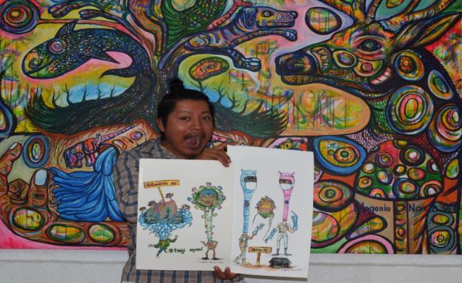 Artista interpreta la pandemia desde la mirada y resistencia mazateca