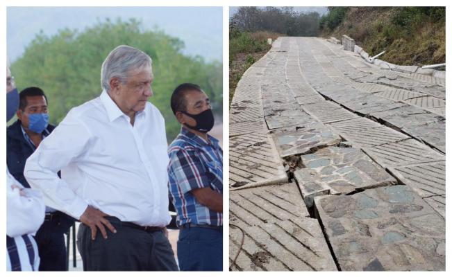 Por falla geológica, se daña uno de los caminos de AMLO a comunidades indígenas en Oaxaca