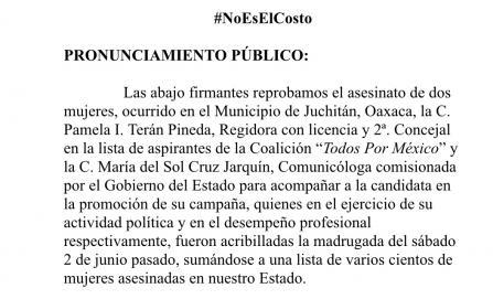Demandan oaxaqueñas no dejar impunes asesinatos en Juchitán