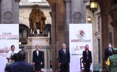 Encabezan AMLO y Murat ceremonia por 148 aniversario luctuoso de Benito Juárez