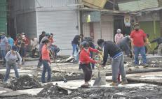 Acondicionan zona temporal para comerciantes de la Central de Abasto afectados por el incendio